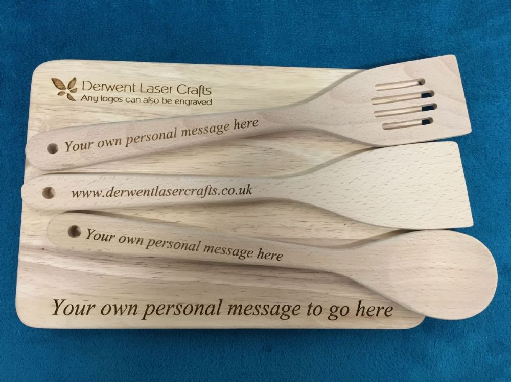 Personalised Engraved Wooden Spoon Two Spatulas And